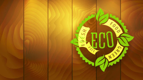 website advert for fresh green eco aliment product with irregular border circular graphic stamped on Animation
