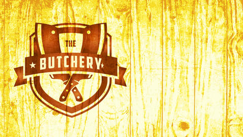cowboy western fancy badge for murder with retro part and meat cutlery on wood texture background Animation