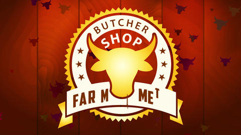 ranch meat nutrient industry contract butcher warehouse with primary class circular insignia on Animation