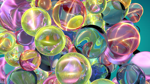 Abstract sphere particles motion animation of a pile of abstract colorful Live Action