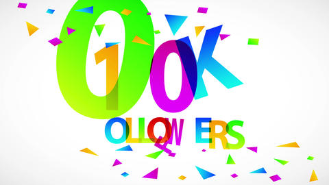 100k followers party invitation card cover with vibrant colored numbers letters and confetti for Animation