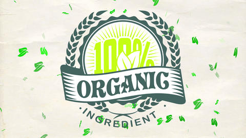100 rate organic component nurture products publicity with fashionable round badge on ragged paper Animation