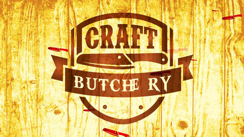 beef meat butcher knife emblem for killing shop made with pyrography expertise on gold shiny wood Animation
