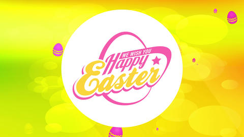 laughing easter eggs hunt invitation with retro offset over gold scene with bubbles fluid like soda Animation