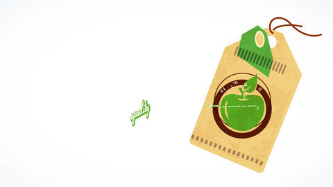 floating tag for green pure healthful aliment promoting vegetarian and healthy dieting habits with Animation