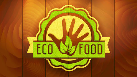 eco food sign with reusable cardboard and leaves texture rounded graphic on digitized wood surface Animation