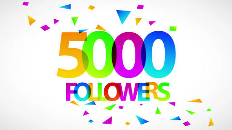 5000 followers celebration ad for network search and browsing top on social media and rest of Animation