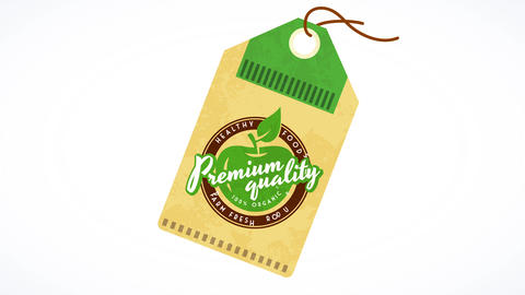 floating tag for green fresh organic food promoting vegetarian and healthy nutrition habits with Animation