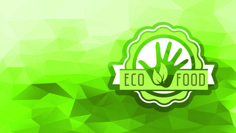 rounded natural eco food sign forming with wavy layers around a hand with green leaves stamped in it Animation