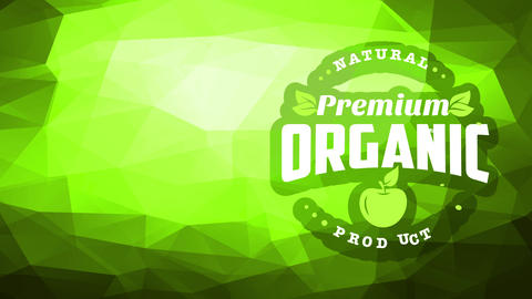 corporate image for premium natural organic good with mini print on corner of green scene with 3d Animation