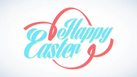 happy easter with silkish ribbon wrapping modern cursive letters and forming typical holiday Animation