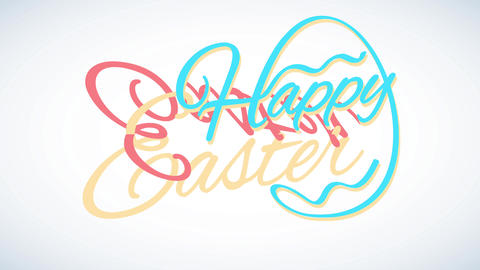 minimalist happy easter invitation letter with a traditional egg figure forming from cursive letters Animation