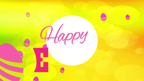 fashionable happy easter covering card with vintage font internal white curve and above brilliant Animation