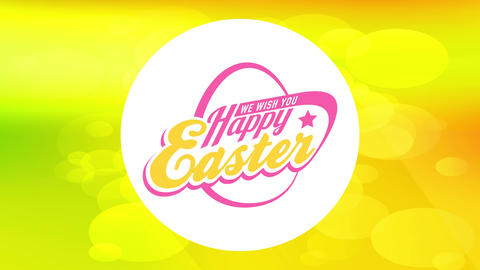 happy easter egg hunt invitation with retro typography over yellow background with bubbles flowing Animation