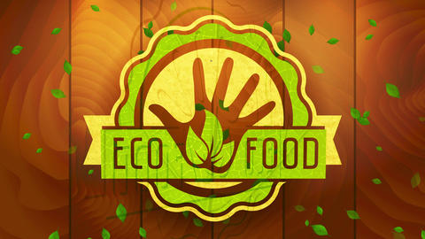 eco nutrient mark with reusable cardboard and foliage texture round graphical on digitized timber Animation
