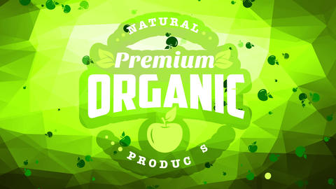 associate image for fancy natural organic good with small print on corner of green background with Animation
