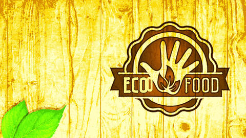 vegan eco nurture round woodcut symbol on wooden surface background advocating for well-being and Animation