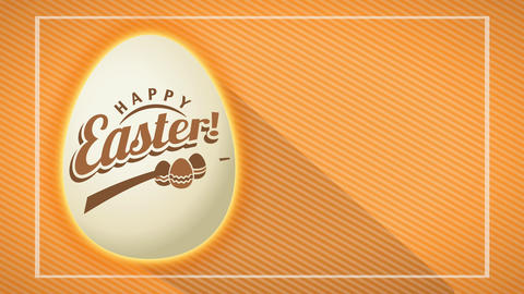 chocolate parcel thinking with white 3d easter egg marked with happy commercial visual over yellow Animation