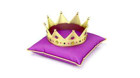 Royal gold crown on purple pillow Animation