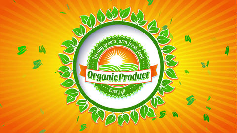 farm fresh organic nourishment products with round insignia giving fish eyeball effect on colourful Animation