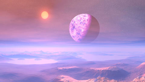 Colorful Sunset on an Alien Planet Animation