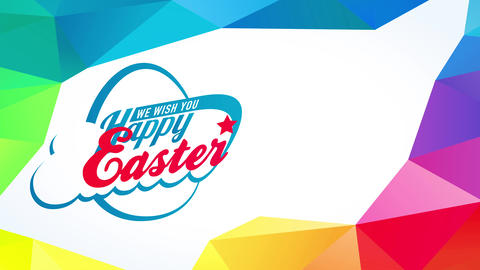 aura colored 3d polygons and triangles surrounding text we wish you happy easter with classic Animation