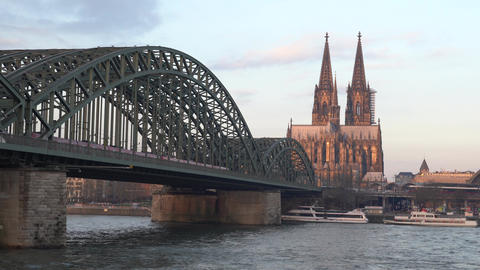 Rhine panorama at daybreak, Cologne, Germany Live Action