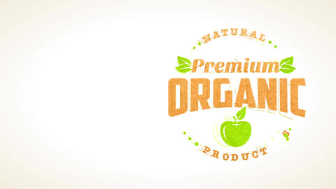 natural premium healthful good with pure fruit graphics and cardboard texture letters for food Animation