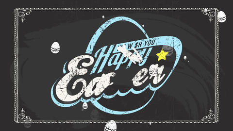 holiday ceremony advertising text we wish you smiling easter on black chalkboard and classical Animation