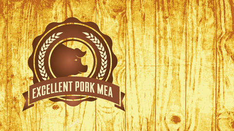 butchers pyrography mark for excellent pork meat with oats branches surrounding piggy head over Animation