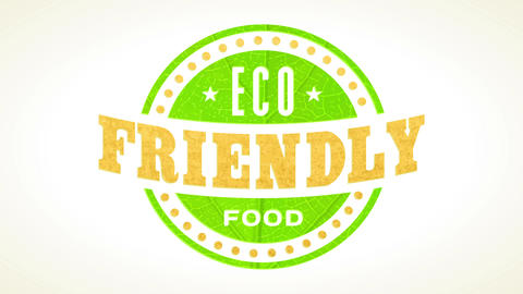 eco friendly food symbol for organic farmers retail businesses using green leaf and recycled paper Animation