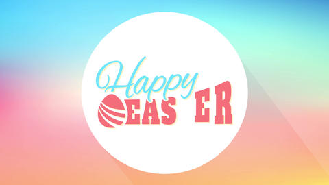 happy easter postcard for surprise egg hunt party with old fashioned typography on gradient color Animation