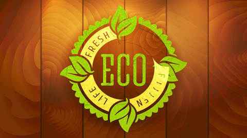website ad for fresh green eco food product with wavy edge rounded graphic stamped on wood Animation