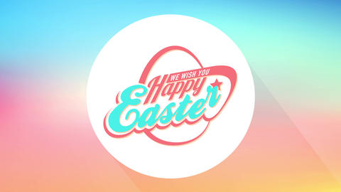 happy easter neighbours gathering dinner party invitation card with abstract egg forming from Animation