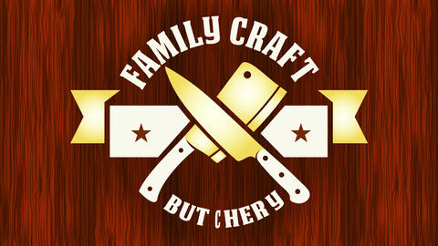 family craft butchery store with golden knives as corporate identity suggesting high quality meat Animation