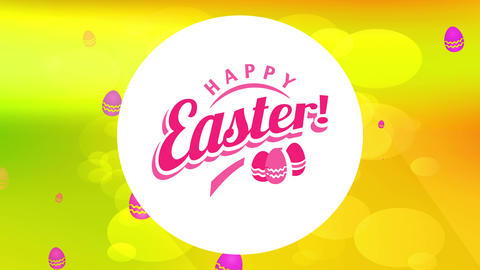 egg hunt carnival announcement with text cheerful easter on centered white circle forming shadow on Animation