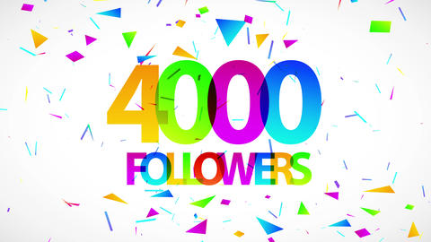 post with 4000 followers written with huge modern typography and numbers over a background full of Animation