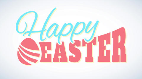 futuristic happy easter sign with abstract egg decorating soft colored letters with floating effect Animation