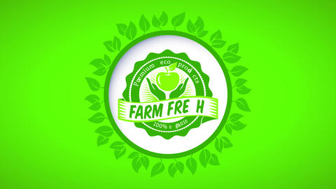 green ad with leaf circle for farm fresh premium 100 percent organic eco products with eye-catching Animation