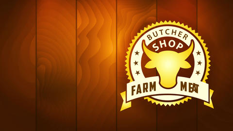 ranch meat nourishment industry business butcher store with first class oval seal on wooden texture Animation