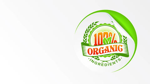 organic aliment good with natural elements on eco friendly oval coupon skin off from a green surface Animation