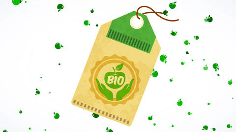 eco bio icon on cardboard label for natural scientifically proven good with surrounding friendly Animation