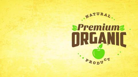 minimalist premium organic farm nurture good symbol with apple and leafs decoration on old-fashioned Animation