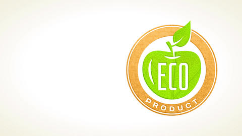 eco product advertising for natural aliment producers with green sprout forming apple in recycled Animation