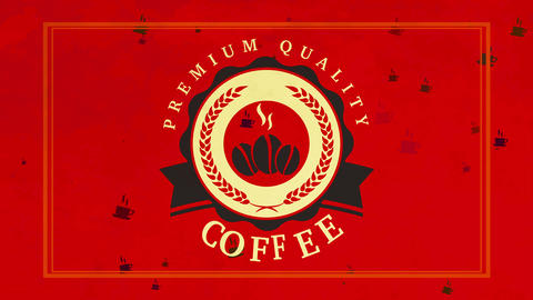 cafe or store collective identification with stencil style glowing coffee beans graphical inside Animation