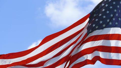 Closeup of American flag USA. Flies flag USA, 4K Live Action