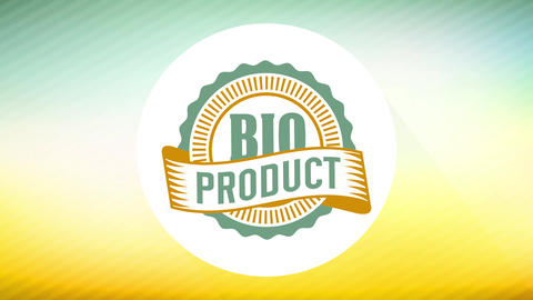 bio products sign for retailing eco friendly food business with 70s style rounded icon on striped Animation