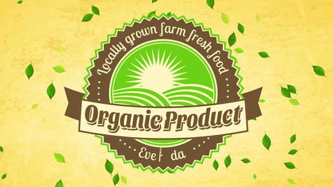 retro curve mark for employment offering locally grown ranch fresh vital food products on paper Animation
