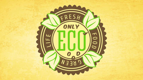 requirement tag for fresh vegan food with wheel like icon on recycled eco paper background Animation