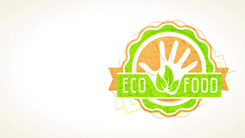 eco food sign with paper and sprout texture layers building graphical for business selling healthy Animation